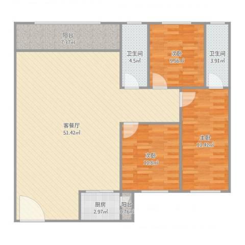 丽日华庭3室2厅2卫1厨140.00㎡户型图