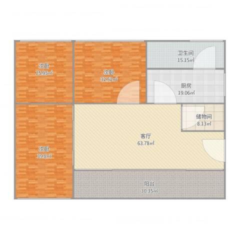 世纪嘉园3室1厅1卫1厨308.00㎡户型图