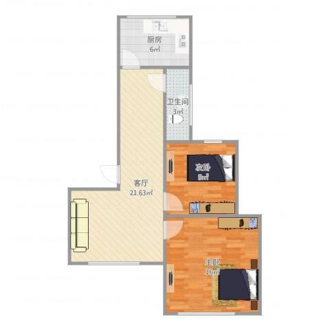 安达家园桃源富邦2室1厅1卫1厨75.00㎡户型图