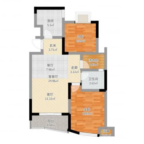 世纪东山2室2厅1卫1厨91.00㎡户型图