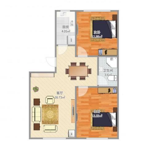 江桥二村2室1厅1卫1厨75.00㎡户型图