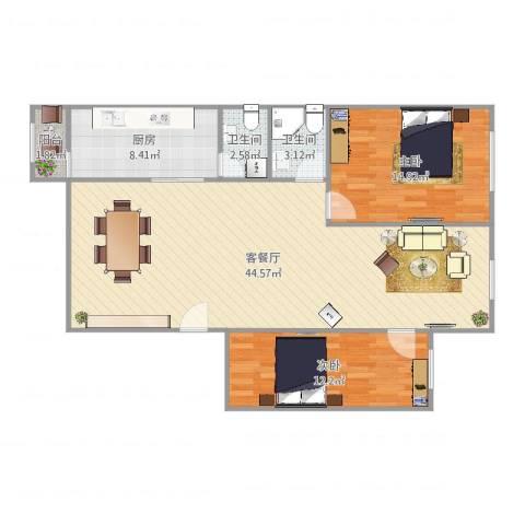 南田公寓2室2厅2卫1厨110.00㎡户型图
