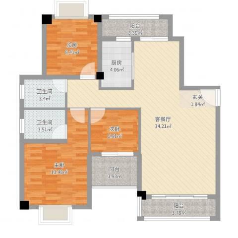万豪天悦广场3室2厅2卫1厨105.00㎡户型图