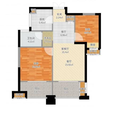 绿地海域苏河源2室2厅1卫1厨90.00㎡户型图