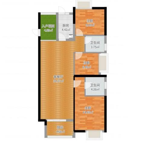 东莞厚街万达广场3室2厅2卫1厨108.00㎡户型图