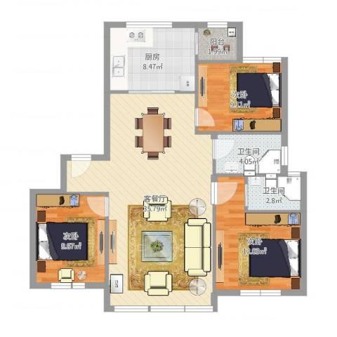 百丈花园3室2厅2卫1厨105.00㎡户型图