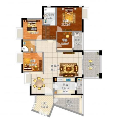 远洋城荣域肖先生雅居4室2厅3卫1厨159.00㎡户型图