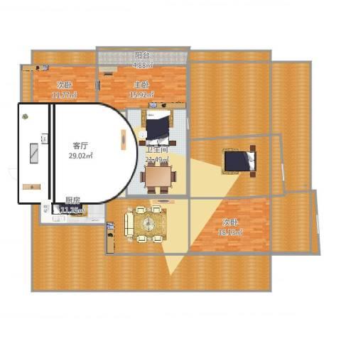 天湖花园3室1厅1卫1厨332.00㎡户型图