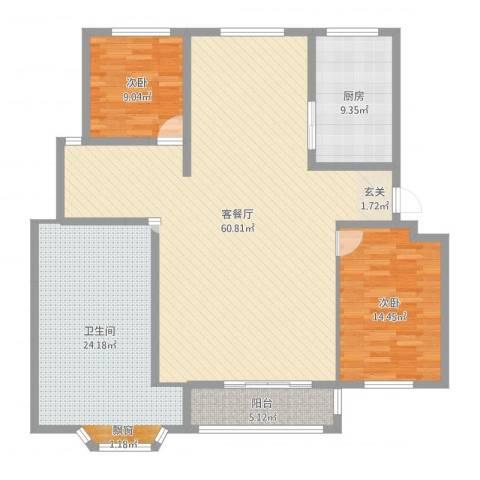 古运新苑2室2厅1卫1厨154.00㎡户型图
