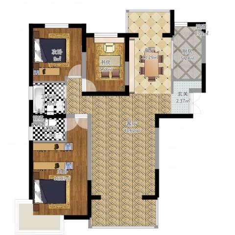 宏润花园3室1厅4卫1厨114.00㎡户型图