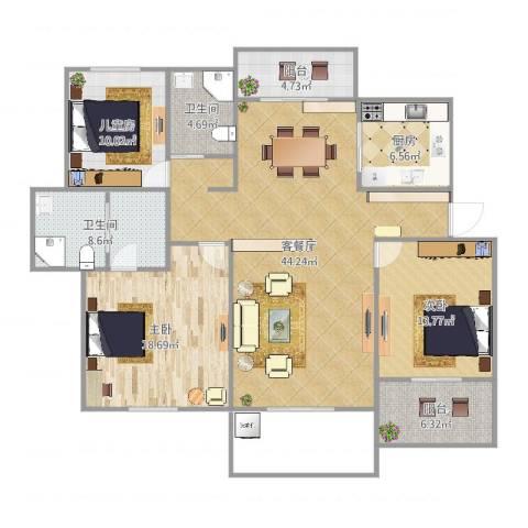 中通・凤凰城3室2厅2卫1厨147.00㎡户型图