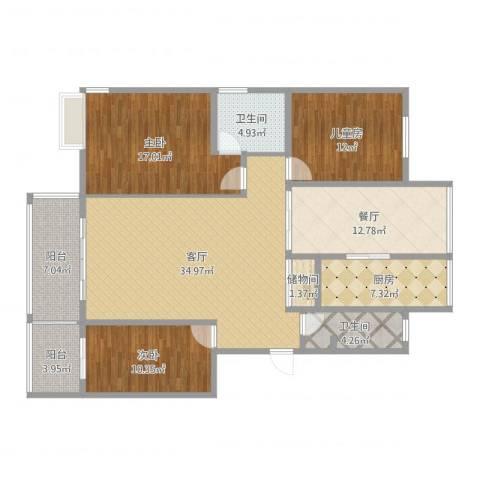 新世纪花苑3室2厅2卫1厨163.00㎡户型图