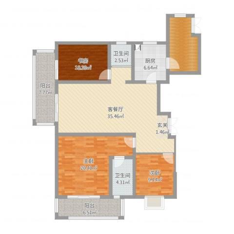 世茂石湖湾3室2厅2卫1厨139.00㎡户型图