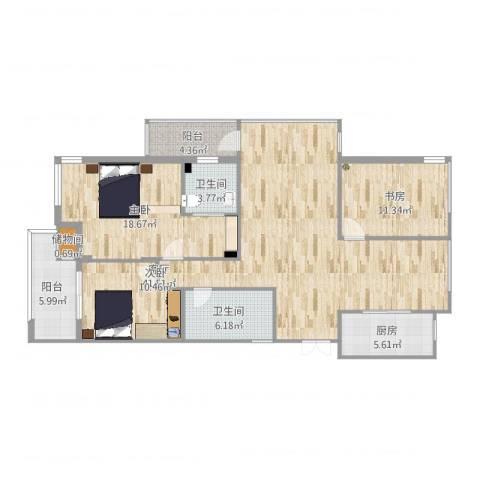 宝业桐城绿苑3室1厅2卫1厨136.00㎡户型图