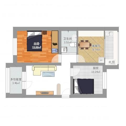 高祥里1室2厅1卫1厨54.00㎡户型图
