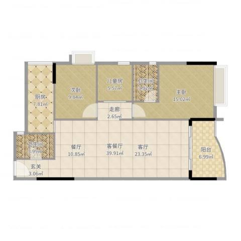 旭景家园3室2厅2卫1厨116.00㎡户型图