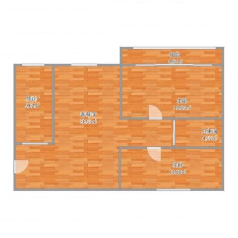 上域逸庭苑2室2厅1卫1厨112.00㎡户型图