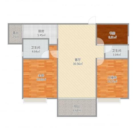 万豪水晶湾3室1厅2卫1厨109.00㎡户型图
