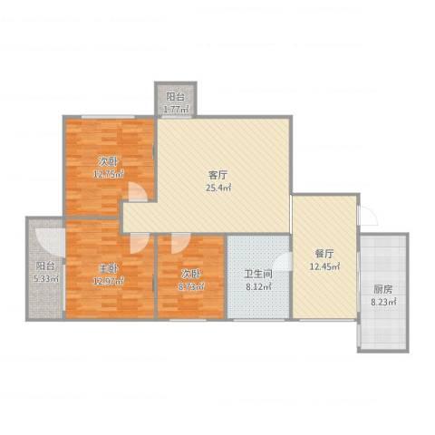 恒通花园大厦3室2厅1卫1厨120.00㎡户型图