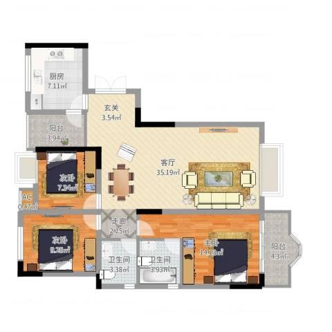 西城花园3室1厅2卫1厨127.00㎡户型图
