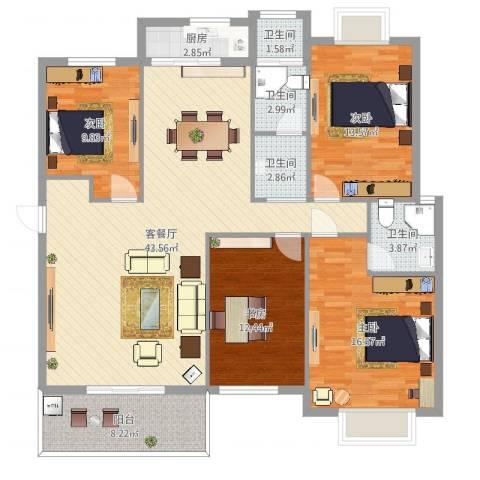 联丰世纪苑4室2厅4卫1厨148.00㎡户型图