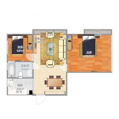 汇嘉新园2室2厅1卫1厨60.63㎡户型图