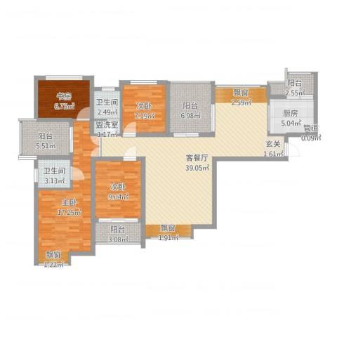 中海观园4室2厅2卫1厨137.00㎡户型图