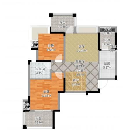 英祥春天广场2室2厅1卫1厨91.00㎡户型图
