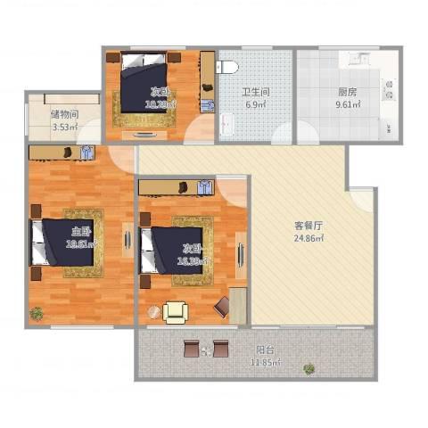 名师风范3室2厅1卫1厨138.00㎡户型图