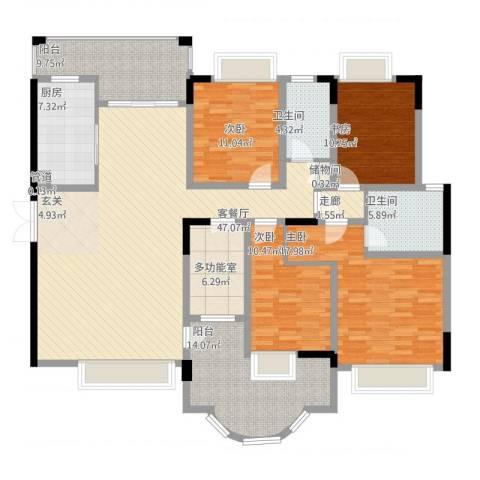 锦绣江山4室2厅2卫1厨167.37㎡户型图