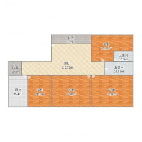 华逸轩6024室1厅2卫1厨598.00㎡户型图