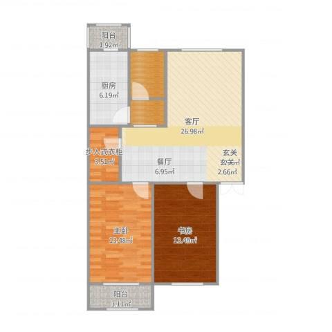 凤祥园2室1厅2卫1厨92.00㎡户型图