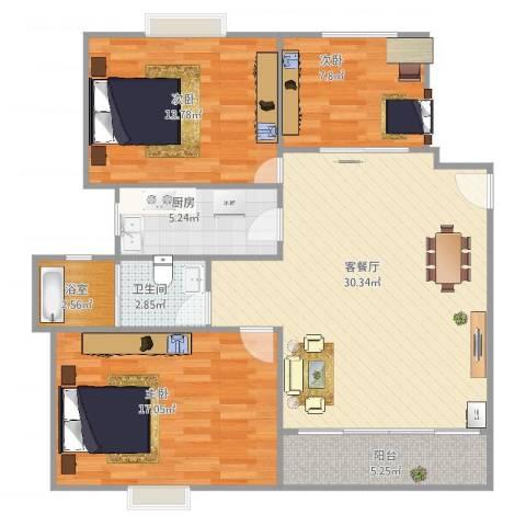 西郊九韵城3室2厅1卫1厨114.00㎡户型图