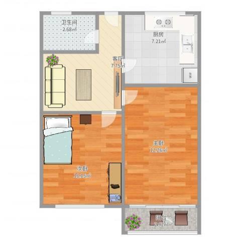 吴中东路500弄小区2室1厅1卫1厨58.00㎡户型图