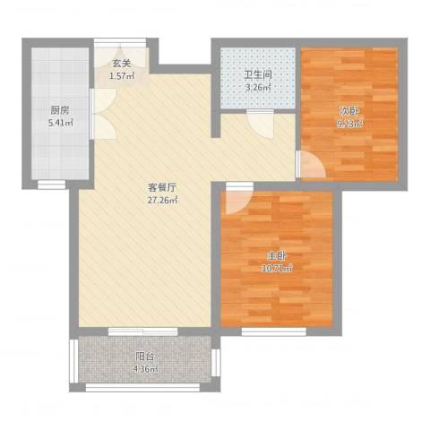 名人国际花园2室2厅1卫1厨75.00㎡户型图