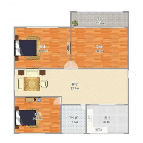 清华学仕园牛逼户型3室1厅1卫1厨142.00㎡户型图