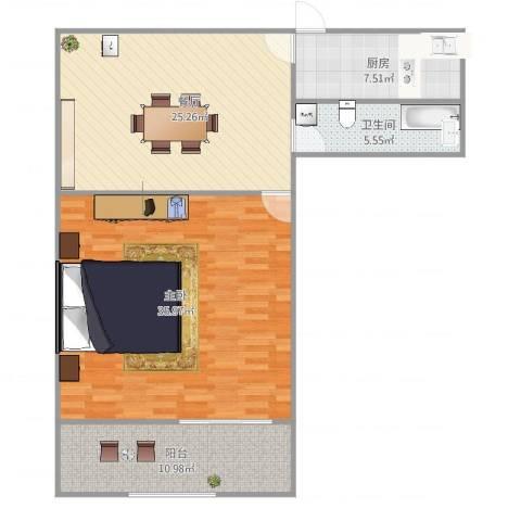 西凌家宅1室1厅1卫1厨113.00㎡户型图