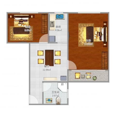 水霞小区2室1厅1卫1厨63.00㎡户型图