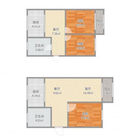 马涧花园3室2厅2卫2厨87.00㎡户型图