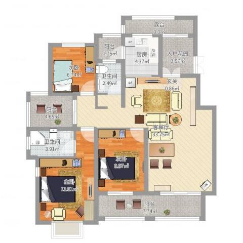 香江帝景3室2厅2卫1厨120.00㎡户型图
