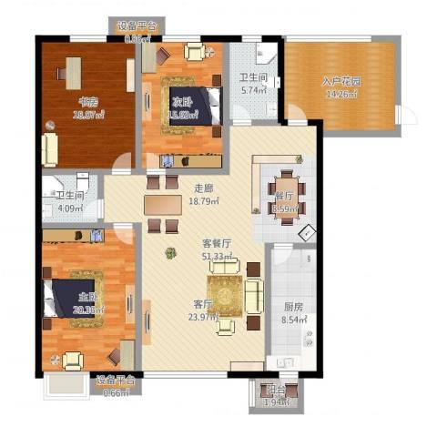 高新名门3室3厅4卫1厨177.00㎡户型图