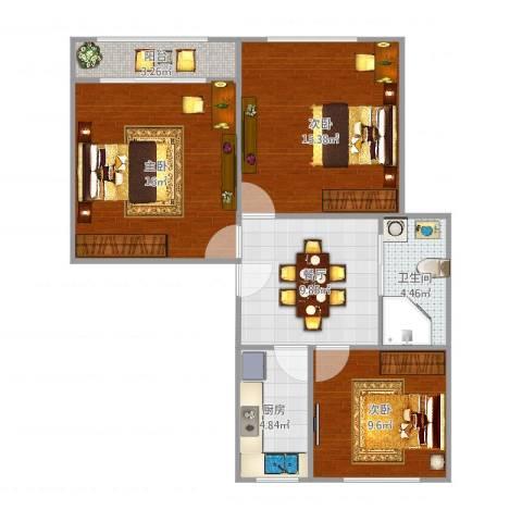 水霞小区3室1厅1卫1厨79.00㎡户型图
