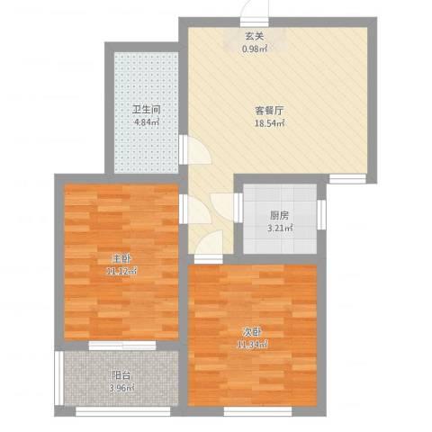 鹤壁锦绣家园2室2厅1卫1厨66.00㎡户型图