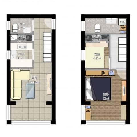 荣丰20082室1厅1卫1厨64.00㎡户型图