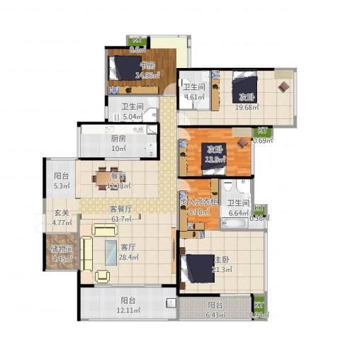 依云上城4室2厅6卫1厨239.00㎡户型图