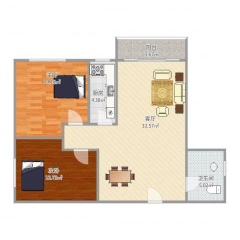 房建大厦2室1厅1卫1厨97.00㎡户型图