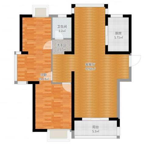 南昌莱蒙都会1室2厅1卫1厨108.00㎡户型图