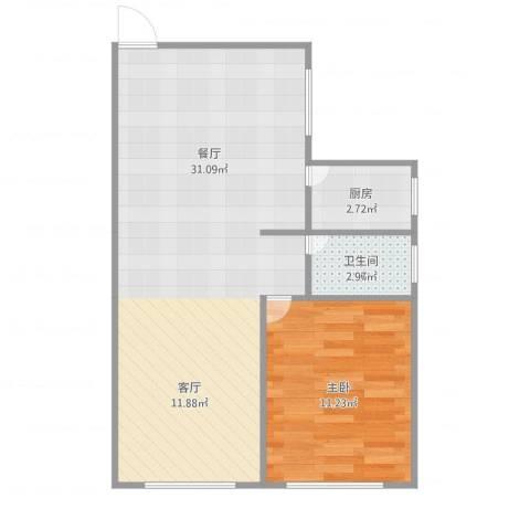 金杨九街坊1室1厅1卫1厨60.00㎡户型图