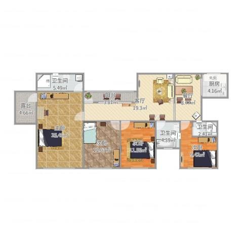 嘉登公寓11楼4室2厅3卫1厨151.00㎡户型图