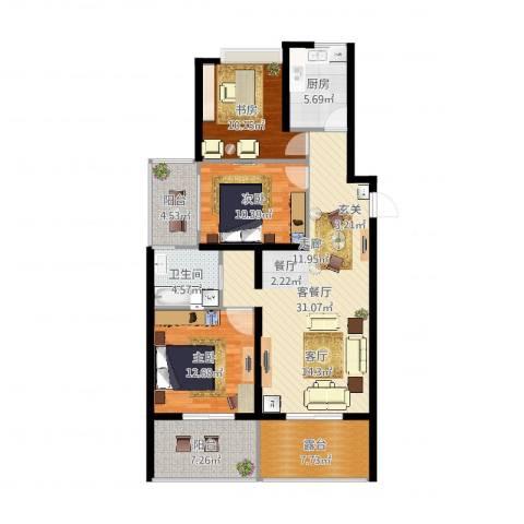 新中国际3室2厅1卫1厨118.00㎡户型图